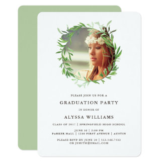 Green Botanical Wreath | Graduation Party Photo Card
