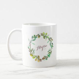 Green Botanical Wreath with your Name Coffee Mug