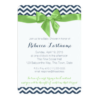 Green Bow and Zigzag Baby Shower Card
