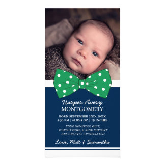 Green Bow Custom Photo Baby Shower Thank You Card