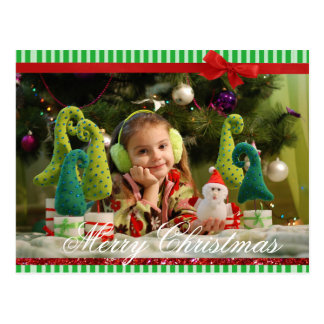 Green Bow  Simple Christmas Photo Personalized Postcard