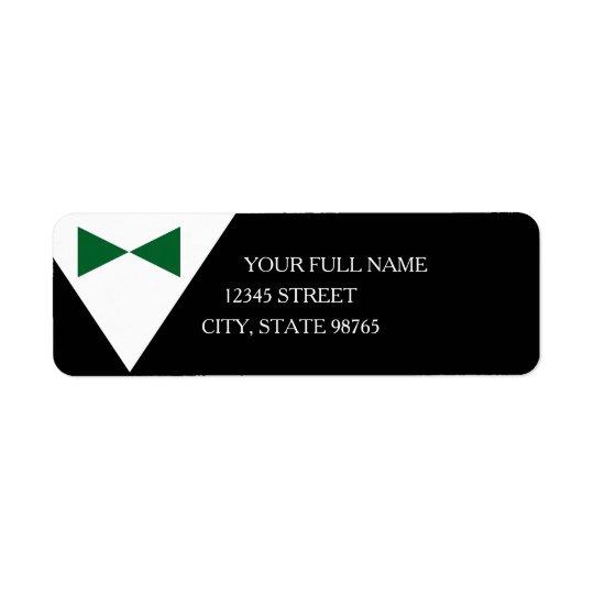 Green Bow Tie Black Tuxedo Return Address Labels