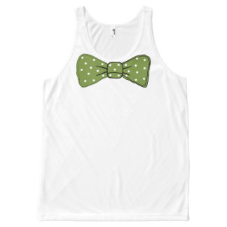 Green Bow Tie Print with White Polka Dot Pattern All-Over Print Singlet