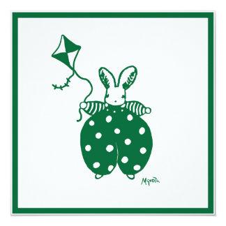Green boy bunny invitation