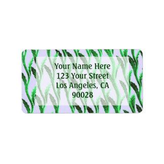 Green branches address label