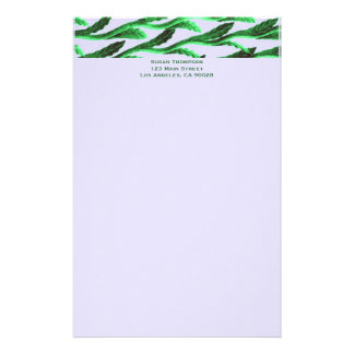 green branches stationery paper