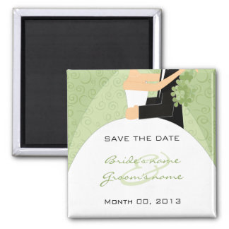 Green Bride and Groom Save the Date Magnets