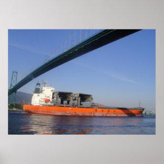 Green Bridge Orange Ship Posters