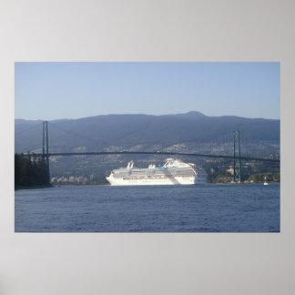 Green Bridge White Ship Print