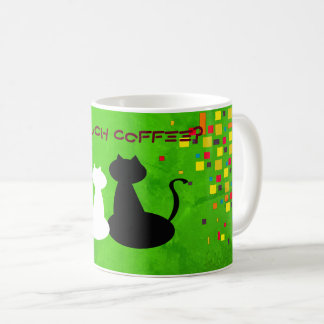 Green Bright Vibrant Squares Colorful Cat Contrast Coffee Mug