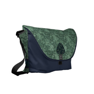 Green Brocade on Blue with Celtic Knot Decor Courier Bag