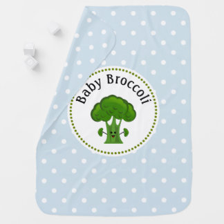 Green Broccoli Blue and White Polka Dots. Baby Blanket
