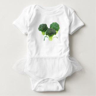 Green Broccoli Crowns on White Baby Bodysuit