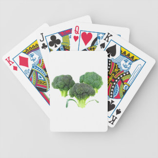 Green Broccoli Crowns on White Bicycle Playing Cards