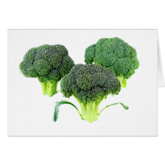 Green Broccoli Crowns on White Card