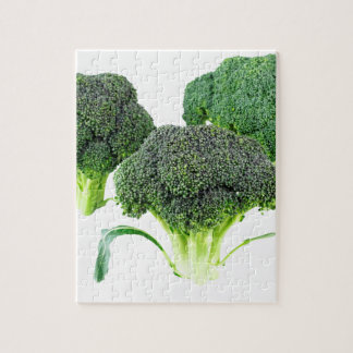 Green Broccoli Crowns on White Jigsaw Puzzle