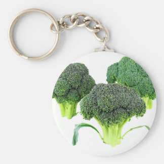 Green Broccoli Crowns on White Key Ring