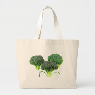 Green Broccoli Crowns on White Large Tote Bag