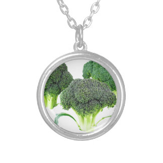 Green Broccoli Crowns on White Silver Plated Necklace