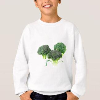 Green Broccoli Crowns on White Sweatshirt