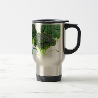 Green Broccoli Crowns on White Travel Mug