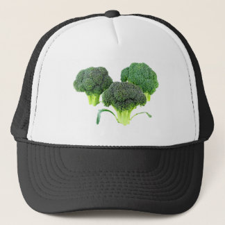 Green Broccoli Crowns on White Trucker Hat