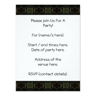 Green, brown and black retro floral pattern. 17 cm x 22 cm invitation card