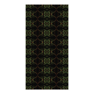 Green, brown and black retro floral pattern. personalized photo card
