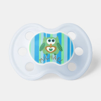 Green, Brown and Blue Owl Baby Boy Name Pacifier
