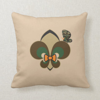 Green & Brown Bow-tied Fleur De Lis with butterfly Cushion
