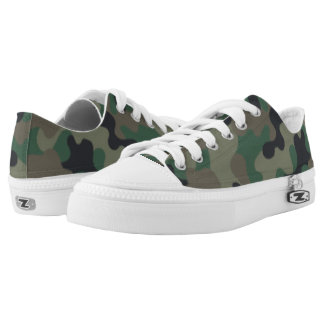 Green Brown Camouflage. Camo your Low Tops