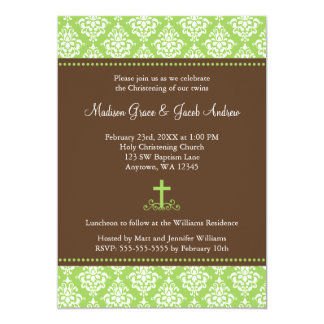 Green Brown Damask Cross Twins Baptism Christening 13 Cm X 18 Cm Invitation Card