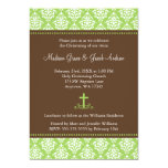 Green Brown Damask Cross Twins Baptism Christening Custom Invitations