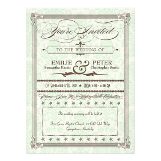 Green & Brown Damask Poster Wedding & Reception Personalized Invitations