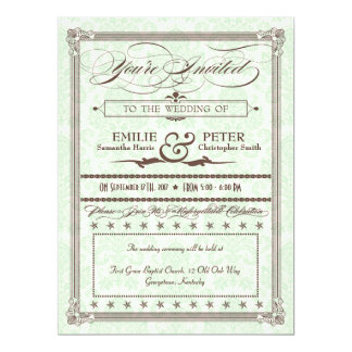 Green & Brown Damask Poster Wedding & Reception 6.5x8.75 Paper Invitation Card