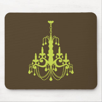 Green Brown Elegant Chandelier Mouse Pad