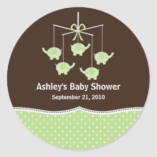 Green & Brown Elephant Mobile Baby Shower Round Sticker