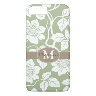 Green & brown floral name / initial iPhone 7 plus case