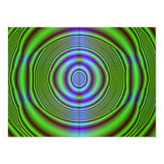 Green brown fractal circles custom invitations