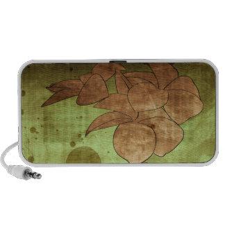 Green Brown Grunge Flower Portable Speaker