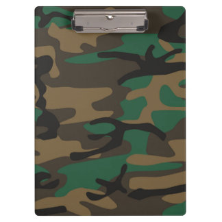Green Brown Military Camo Camouflage Clipboard