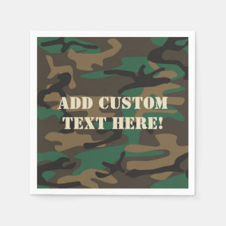 Green Brown Military Camo Camouflage Disposable Napkin