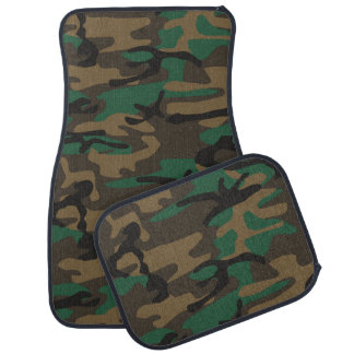 Green Brown Military Camo Camouflage Floor Mat