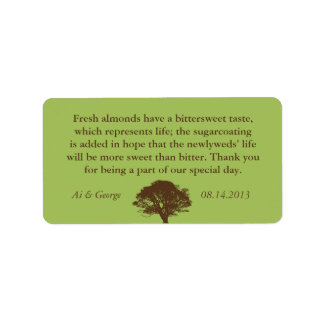 Green brown oak tree wedding quote favor label address label
