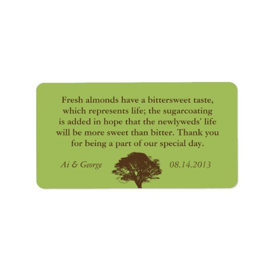 Green brown oak tree wedding quote favour label