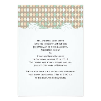 Green Brown Peach Harlequin Wedding Announcement