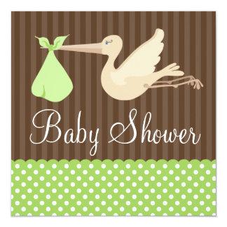 Green Brown Stork Dots Gender Neutral Baby Shower 13 Cm X 13 Cm Square Invitation Card