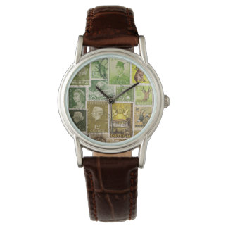 Green Brown Watch, Postage Stamp Collage Art Watch