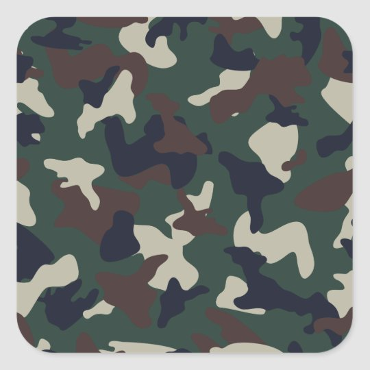 Green Brown woodland camo camouflage pattern Square Sticker