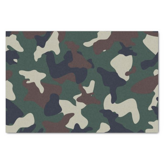 Green Brown woodland camo camouflage pattern Tissue Paper